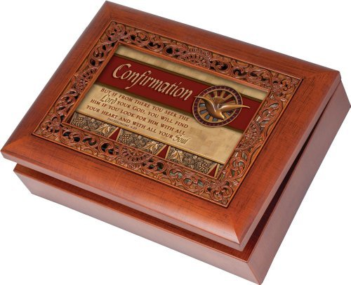 Cottage Garden Confirmation Ornate Woodgrain Music Box / Jewelry Box Plays Amazing Grace (Confirmation Keepsake)