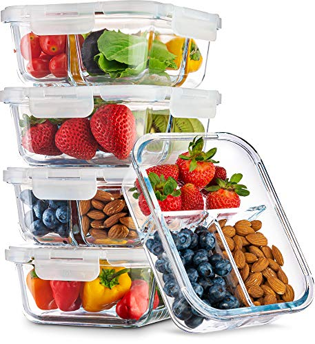 Ez Prepa 3-Compartment 35oz Glass Food Storage Containers (5 Pack) | Meal Prep Portion Control Bento Lunch Box with Air-Tight Clip Lock Lid | Reusable Divided BPA-Free Bento Box (Low Carb Diet But Not Losing Weight)