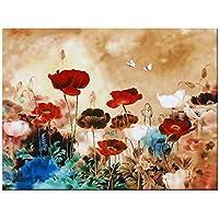 Wieco Art CanvasPrint, the Blooming Poppies - HugeCanvasPrint, StretchedandFramed, ModernCanvasWallArtforHomeDecoration, Floral Canvas Art, Paintings Style