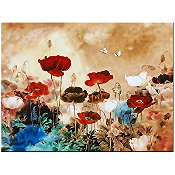 Wieco Art - Blooming Poppies Modern Stretched and Framed Floral Giclee Canvas Prints Flowers Artwork Colorful Flowers Pictures Paintings on Canvas Wall Art for Living Room Bedroom Home Decorations