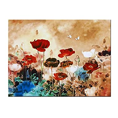 Wieco Art Blooming Poppies Canvas Prints Wall Art Colorful Flowers Pictures Paintings for Living Room Bedroom Bathroom Home Decorations Modern Stretched and Framed Pretty Floral Giclee Artwork