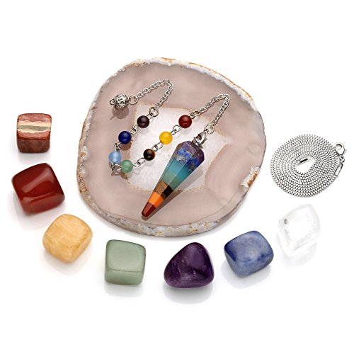 Top Plaza 7 Chakra Reiki Healing Crystals Set W/7 Chakra Tumbled Stones,Hexagonal Point Pendant Necklace,Chakra Beads Bracelet,Brown Agate Slice Pendulum Stand,Therapy Gemstones Kit (Agate Pendulum)