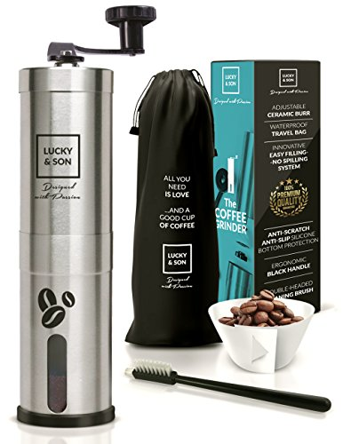 Lucky & Son Manual Burr Coffee Grinder - Top Rated Hand Crank Conical Coffee Bean Grinder with Adjustable Ceramic Burr, Portable Mini Mill for Travel, Best Coarse Grind for French Press