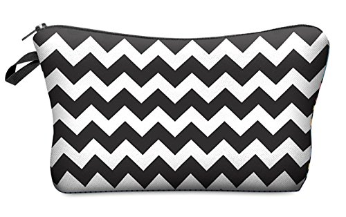 Daisy Bay Black Zig Zag Chevron Cosmetic Makeup Bag