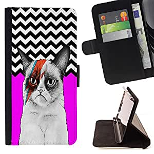 - Chevron Grumpy Cat - - Premium PU Leather Wallet Case with Card Slots, Cash Compartment and Detachable Wrist Strap FOR Samsung Galaxy S4 Mini i9190 I9192 King case
