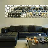 30x120cm Modern Design Flower Pattern DIY Wall Decor Art Acrylic Mirror Surface 3D Wall Sticker Bedroom Living Room Sofa Background Decorative Mural Decals Removable