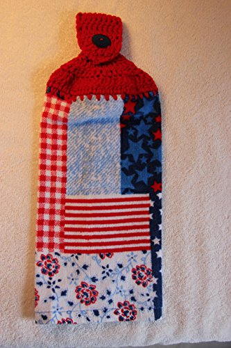 Crocheted Patriotic Patchwork Kitchen Towel with Red (Patchwork Crocheted)