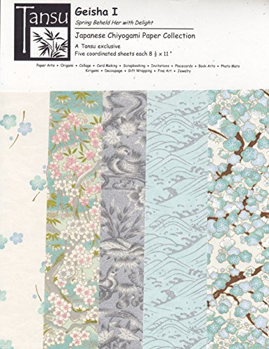 Blue Chiyogami Paper (Japanese Chiyogami Papers - Geisha I - Spring Beheld Her with Delight)
