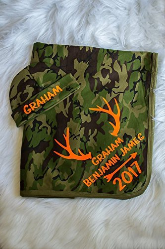 Personalized Baby Boy Camo Blanket and Hat Set by Simply Crafty
