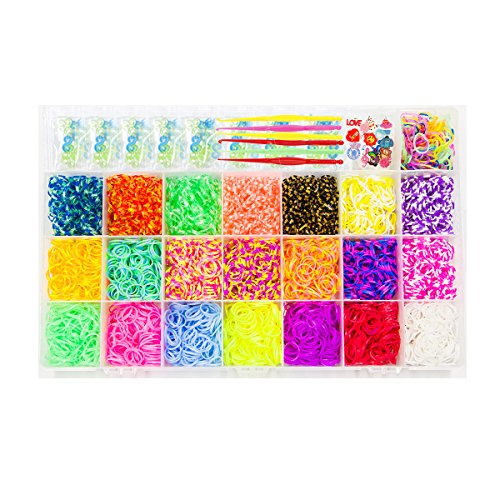 NEFUTRY Colorful Loom Kit-4800 Rubber Loom Bands, 22 Colors, 1 Loom, 1 Big Hook, 6 Small Hook, 8 Packs S-Clips, 10 Silicon Charms, 10 Lovely Charms