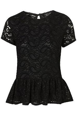 Topshop Black Stretch Lace Peplum Top Size 6 Amazon Clothing