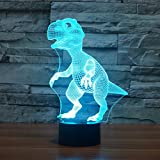 Dinosaur 3D Night Light Touch Table Desk Lamp, Elsley 7 Colors 3D Optical Illusion Lights with Acrylic Flat & ABS Base & USB Charger for Christmas Gifts