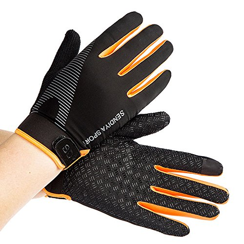 CUGBO Summer Men and Women Ice Silk Thin Fitness Training Full Fingers Gloves Mountaineering Outdoor Non-slip Sports Breathable Riding Gloves Orange(orange) (Womens Silk Glove)