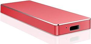 External Hard Drive 1TB 2TB,Portable External Hard Drive Ultra Thin External HDD Compatible for PC, Mac,Desktop, Laptop(2TB-B Red)