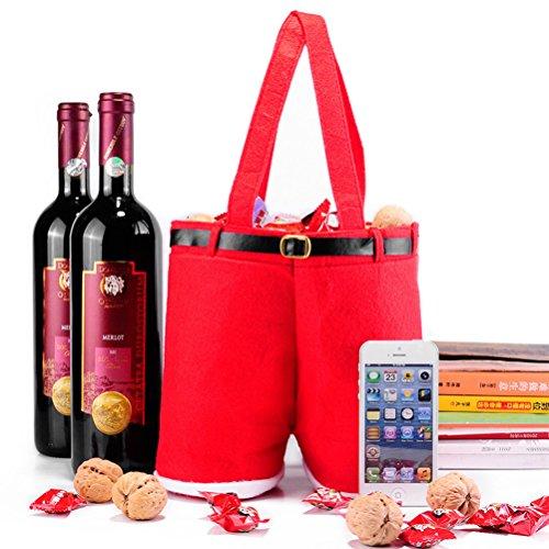 Christmas Gift Bags,Santa Pants gift Treat bags 10Pcs Xmas Gifts Bag Baskets Kid Gift Wrap for Christmas Holiday Wedding New Year (10.2