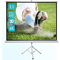 """ivolum 111"""" Tripod Projector Movie Screen, 79"""" x 79"""" viewing area, 1:1 format, Mobile projector screen ideal for home cinema or business"""