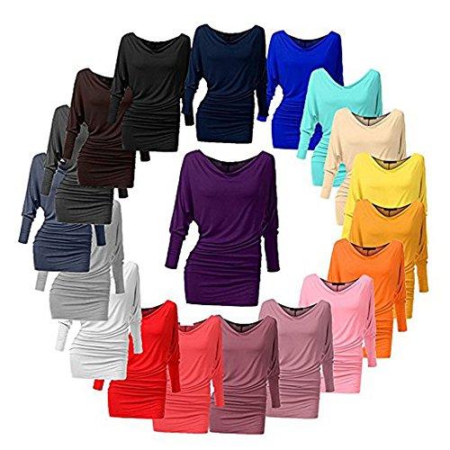 slim donna unita tinta Marrone4 elegante elegante shirt Camicia lunghe a shirt fit casual maniche top T Camicetta T 6wqtg0q
