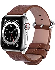 Fullmosa Watch Strap Compatible for iWatch 42mm 44mm 40mm 38mm, Calf Leather Band for iWatch Series 6/5/4/3/2/1/SE, 44mm 42mm Brown