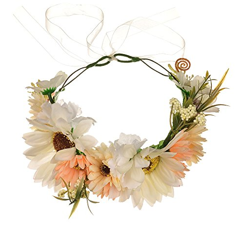 Vivivalue Daisy Flower Crown Floral Wreath Headband Hair Garland Flower Halo Headpiece with Ribbon Wedding Party Photos Festival White -
