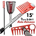 15 Foot 2-IN-1 Combo Golf Ball Retriever (Rake Retriever and Pressure Fit)