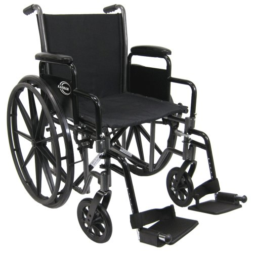 Karman Healthcare Deluxe Lightweight Wheelchair with Removable Armrests, Silver Vein, 18 Inches Seat Width