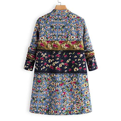 Femme Bleu Manteau À Hiver Imprimé Floral Chemisier Pullover Veste Pull Coat Outwear Hauts ancien chaud poche Trench Cebbay Parka 5R4qwU