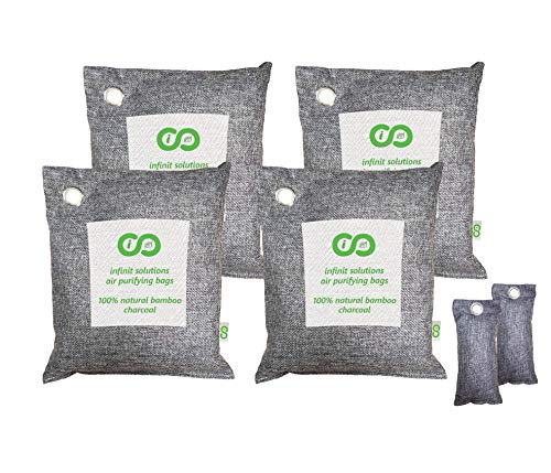 Air Purifying Bags, Car & Pet Odor Eliminator. Natural Activated Moso Bamboo Charcoal Deodorizer, Odor Absorber Remover, Air Freshener. 4 x 500g Bags + FREE BONUS 2 x 100g Shoe Deodorizers