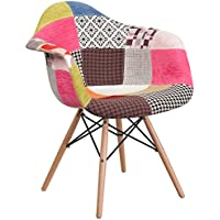 Flash Furniture Alonza Series Milan Patchwork Fabric Chair with Wood Base