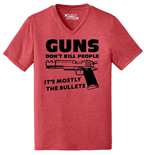 Comical Shirt Mens Triblend V-Neck Guns Don't Kill People It's Mostly The Bullets Funny Shirt Red Frost L