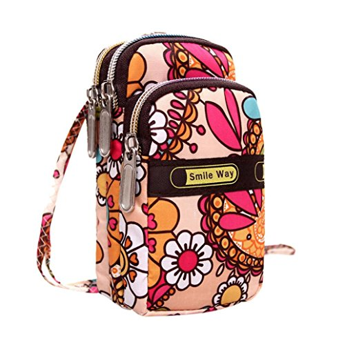 Hot Women Colorful Pattern Printing Zipper Sport Mini Wrist Purse Bag (E)