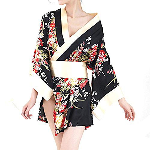 Superex Sexy Japanese Kimono Lingerie Costume Set Robe with Bow Belt, G-String (Black)