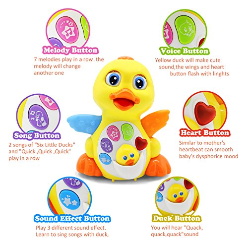 51alfCAqRWL - HOMOFY Yellow Duck Baby Lovely Dancing Singing, Music Lights and Walking, Learning Kids Toys for Girls and Boys Or Toddlers