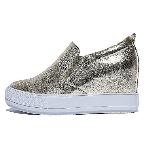 mocasines zapatos planos de la manera de las zapatillas de deporte de las mujeres Kakaka antivibraci?n Negro Blanco Gold