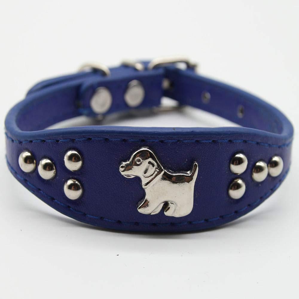 Daeou Collari per cani PU rivetto collare collo collare collare cane catena, 2.5  32 cm