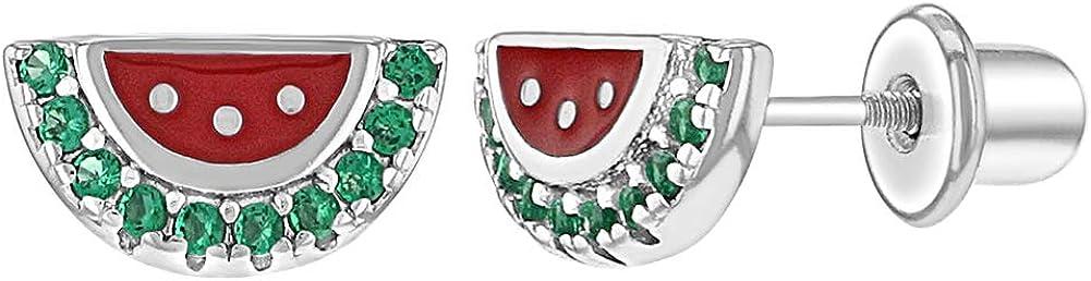 925 Sterling Silver Green CZ Enamel Red Watermelon Screw Back Earrings for Girls