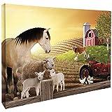 JP London CNV2006 Gallery Wrap Heavyweight Barnyard Farm Animal Friends Horse Sheep And Tractor Canvas Art Wall Decor, 1.5' High x 2' Wide x 2