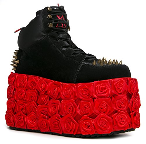 YRU Shoes QOZOMOPOLITAN Rosette Flatform Spiked Sneaker (Alien Shoes)