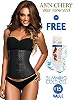 Ann Chery 2021 3 Hook Black Latex Waist Cincher Plus Sizes + Free