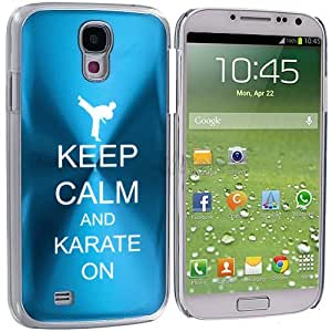 Samsung Galaxy S4 S IV Aluminum Plated Hard Back Case Cover Keep Calm and Karate On (Light Blue)