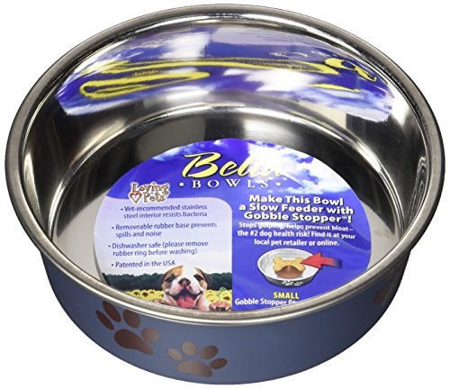 Loving Pets Metallic Bella Bowl, Small, Blueberry