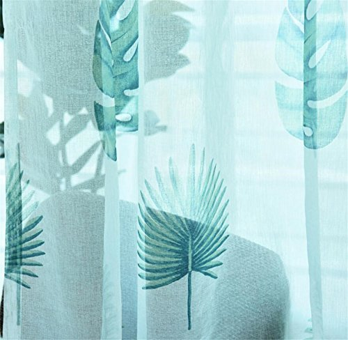eTRY Blue Tropical Banana Leaf Sheer Curtains Voile Tulle Window Curtain Drapes for Living Room Bedroom Rod Pocket 52 x 96 Inch 1 panel Review
