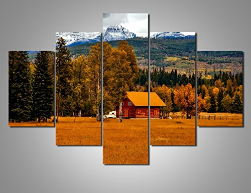 Log Cabin Canvas - Rustic Wall Decor Log Cabin Extra Large Landscape Painting on Canvas Modern Artwork Nature Scene in Autumn Pictures Giclee Home Decor for Living Room Framed Gallery-wrapped Ready to Hang(60''Wx40''H)