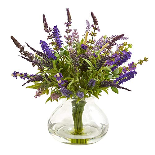 (Nearly Natural 1939 Lavender Bouquet Artificial Vase Silk)