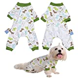 Per Dog Cat Pajamas with Cute Dinosaur Pattern and Four Feet Design, Pet All Season PJS Jumpsuit for Small and Medium Sized Dog Puppy Cat Kitten - XS/S/M/L/XL