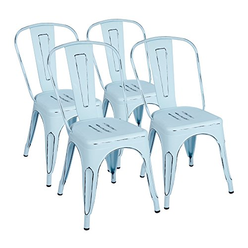 Furmax Metal Chairs Distressed Style Dream Blue Indoor/Outdoor Use Stackable Chic Dining Bistro Cafe Side Chairs(Set of 4) by Furmax