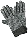 GRANDOE Women's BARLEY CORN TWEED Leather Palm Glove, Cashmere Blend Lined