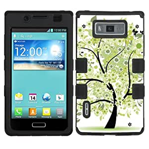 One Tough Shield ? Hybrid Flexible/Rigid Phone Case (Black Bezel) for LG Venice/Splendor LS730/US730 (Boost Mobile/Sprint/US Cellular) (Green Tree)