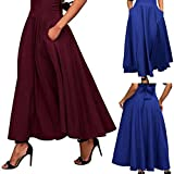 Aurorax Womens High Waisted Skirt Front Slit Belted Maxi Skirt With Pockets,Pleated A Line Thin Skirt Fancy Pattern Skirt