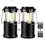ZTX Portable Outdoor Super Bright Collapsible COB Camping Lantern, Great Lights for Hiking, Emergencies, Outages(Include 6pc AA alkaline batteries) 2 Packs