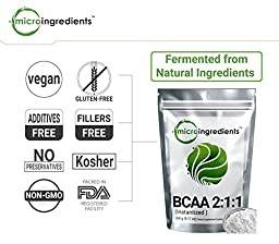 Micro Ingredients Pure BCAA 2:1:1 Powder (Instantized), 1 Kilogram (2.2 lb)